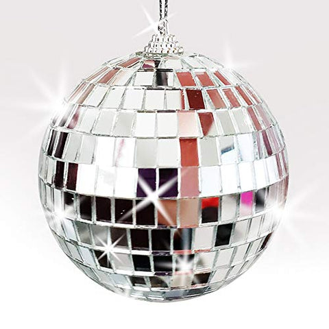 ArtCreativity 4 Inch Mirror Disco Ball - Silver Disco Ball with Hanging String for Parties, Birthdays, and Weddings - 90?s Disco Party Decorations and Supplies, Ceiling Décor Disco Accessories