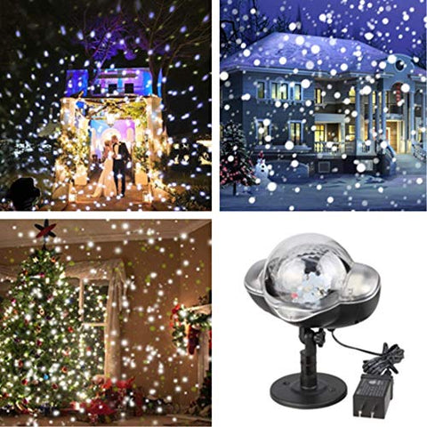 Snowfall Led Lights Ip65 Waterproof 2019 Mini Christmas Snowflake Projector Lamp Indoor Outdoor New Year Decoration Light With Rf Remote & Timer(High Brightness)