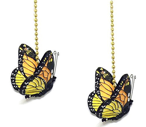 "WeeZ Industries - Monarch Butterfly Ceiling Fan Pull Chain Extension Ornament 6""L (2)"