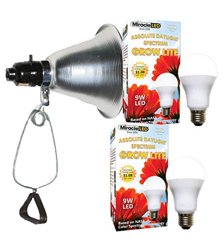 MiracleLED 604964 9W Absolute Daylight Full Spectrum Grow Light 2-Pack with Clamp Lamp Fixture Replacing Old, Hot 100W Incandescent Floods, 2 Bulb