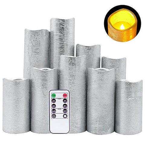 "DRomance LED Flameless Flickering Candles Battery Operated with Remote and Timer, Set of 9 Silver Coating Warm Light Real Wax Pillar Candles for Christmas Home Decoration(D 2.2""x H 4""-9"") - llightsdaddy - DRomance - Flameless Candles"