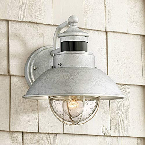 Oberlin Outdoor Wall Light Fixture Farmhouse Galvanized 9 Motion Security Sensor Dusk to Dawn for House Patio Porch - John Timberland