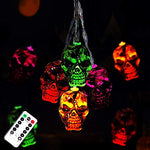 30LEDs Halloween Spooky Lights, Halloween Skeleton Skull String Lights Battery Operated, Halloween Decorations Perfect for Halloween Party, Haunted House Creating Horror Decoration (Multi)