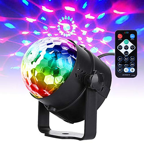 Yoken DJ Lights Disco Ball Light RGB Strobe Lights Sound Activated with Remote Control for Parties Dances Bars Clubs Karaoke Wedding Christmas Halloween