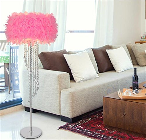 FGLDD Floor lamp Pink Modern Feather Birthday Wedding Light Hotel Feather Crystal Bedroom Living Room Study Room lamp Size: high 150cm - llightsdaddy - FGLDD - Lamp Shades