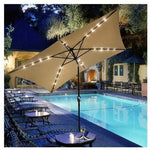 Jacoble 10x6.5ft Rectangular Umbrella w/Solar LED Lights Beige - llightsdaddy - Jacoble - Umbrella Lights