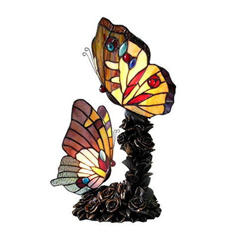 "Chloe CH15107AA17-TL2 10"" Wide Edith 1 Tiffany-Style 2 Light Butterfly Table Lamp, 17 x 8.75 x 8.75, Multicolor"