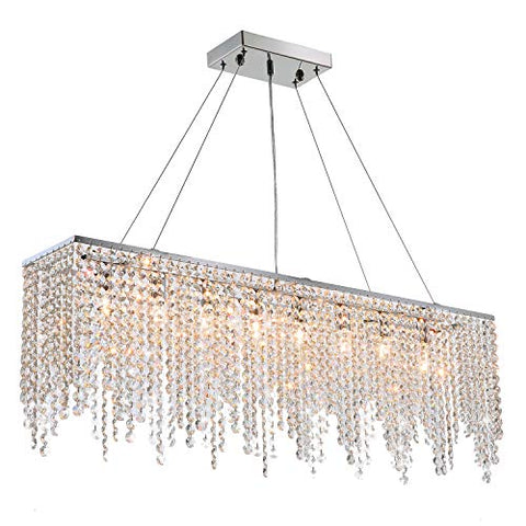 7PM Modern Linear Rectangular Island Dining Room Crystal Chandelier Lighting Fixture (Large L40)