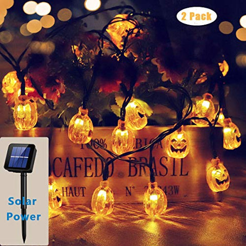 2 Pack Halloween Solar Lights Outdoor,20Ft 30 Led Pumpkin Lantern Halloween Decorations For Ourdoor Garden,Yard, Patio, Xmas Tree, Party, Home(Warm White,Ip65 Waterproof)