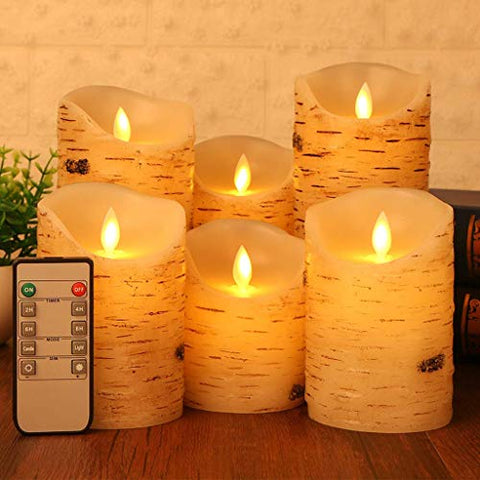 Flameless LED Candles Set of 6 Flickering Light Birch Bark Real Pillar Wax with Timer and 10-Key Remote for Wedding, Yoga, Votive, and Decoration - llightsdaddy - Amanda - Flameless Candles