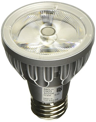 Bulbrite SP20-11-10D-830-03 SORAA 10.8W LED PAR20 3000K Brilliant 10° DIM, Silver