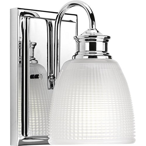Progress Lighting P2115-15 Transitional One Light Bath from Lucky Collection Finish, Polished Chrome