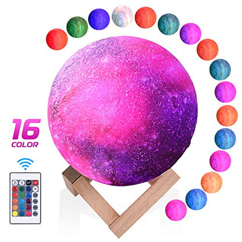 Xrexs Moon Lamp, 16 Colors Moon Light With Stand ( 5.9 Inch), 3D Printing Led Moon Night Light Touch And Remote Control, Usb Charging, Birthday Christmas Gifts Nursery Decor For Kids