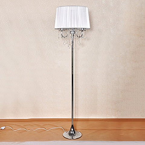 Luxury Crystal Floor Lamp European Living Room Bedroom Bedside Lamp High Standing Tabel Lamp ( Color : Silver ) - llightsdaddy - Cang teacher - Lamp Shades