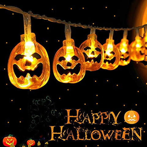 Halloween String Lights, 10Ft 20LED Pumpkin Lantern Halloween Lights Decoration, 2 Lighting Modes Battery-Powered String Lights, Spooky Halloween Lights for Party Patio Indoor Outdoor
