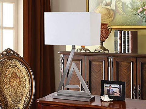 L423 Set Of Two Table Lamps - Brushed Chrome; White