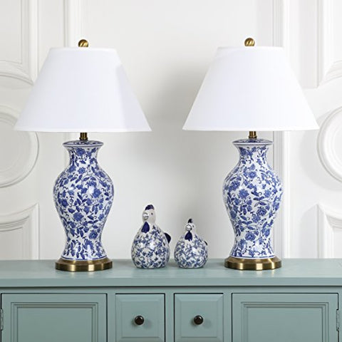 Safavieh Lighting Collection Beijing Floral Urn Blue and White 29-inch Table Lamp (Set of 2) - llightsdaddy - Safavieh - Table Lamp