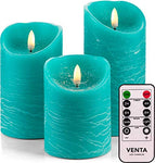 Venta Set of 3 Realistic Flameless Turquoise LED Candles with Remote Control - 4'' 5'' 6'' Electric Wickless Pillar Battery Operated Candles with Flickering Flame Timer - llightsdaddy - Venta - Flameless Candles