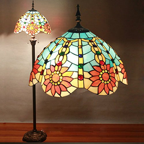 Gweat 16 inch Tiffany Floor Lamps Bedroom Living Room European-Style Den Romantic European-Style Garden Vintage Coffee Table Lamp Floor Lamp - llightsdaddy - Gweat Tiffany Floor Lamp - Table Lamp