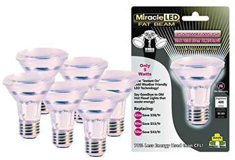 "Miracle LED 604765 5 Watt ""Fat Beam"" Wide Angle Flood Light Security Bulb, Cool White, 6-Pack"