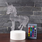 Beaulyn Unicorn Night Light for Kids 16 Colors +7 Colors Changing Touch&Remote Control 3D Decor Projector Lamp (Unicorn)