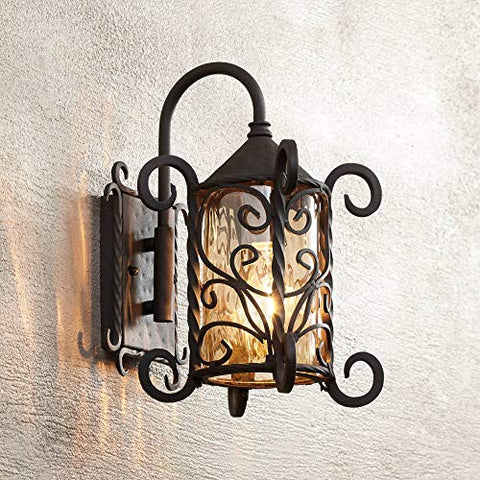 Casa Seville Rustic Outdoor Wall Light Fixture Mediterranean Inspired Dark Walnut Iron Scroll 13 1/4 Champagne Hammered Glass for Exterior House Porch Patio - John Timberland