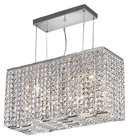 Elegant Lighting 2018D26C/EC Cut Clear Crystal Maxim 8-Light Crystal Pendant Finished in Chrome with Clear Crystals