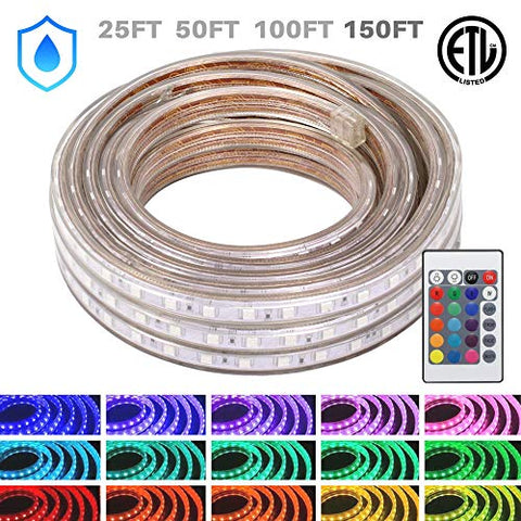 Wyzworks Led Rope Lights, 150Ft Waterproof Color Changing Strip Light For Outdoor & Indoor Use - Flexible Dimmable Lighting With Remote Controller 16 Colors & Multi Modes - 25, 50, 100, 150 Feet