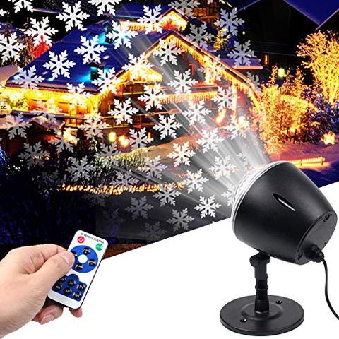 Christmas Light Projector,White Moving Snowflake Light Projector Halloween Outdoor Decorations Waterproof For Landscape Garden Holiday Thanksgiving Party