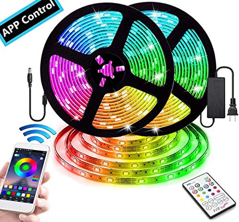 Smart App Controlled Color Changing Led Strip Lights, 32.8Ft Waterproof Smd 5050 Rgb Led Lights With Bluetooth Controller And Ir Remote For Room, Bedroom, Party, Kitchen, Porch, Patio And Dorm Decor