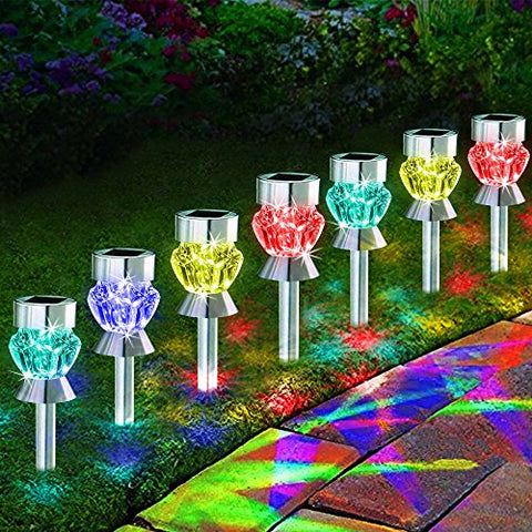 Solarduke Solar Path Lights Outdoor Diamond Shaped Sparkling Color Changing Pathway Walkway Decoration Landscape Lighting For Garden Lawn Patio Backyard Decor (4 Pack)