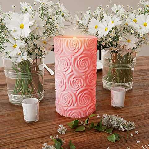 Lavish Home LED Candle with Remote Control-Rose Design Scented Wax Realistic Flickering or Steady Flameless Pillar Light-Ambient Home D├ęcor - llightsdaddy - Trademark - Flameless Candles