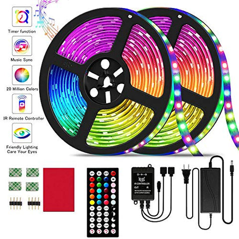 Led Strip Lights 32.8Ft Rgb Led Strip Lights Smd 5050 Led Lights,300 Leds Color Changing Led Strip Lights With 44 Keys Ir Remote Lights For Home Decoration,12V Power Supply Led Light With Music Sync