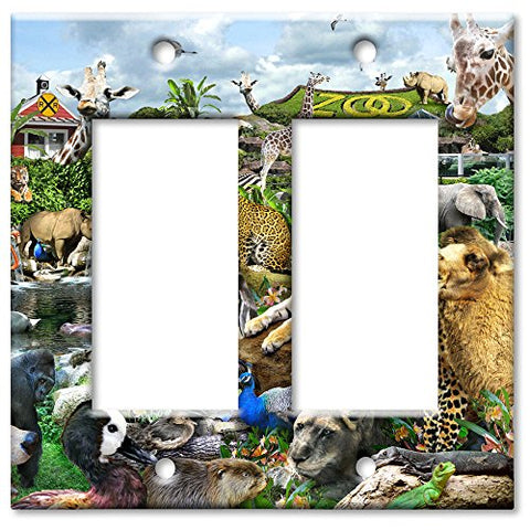 Double Gang Rocker Wall Plate - Zoo Animals - llightsdaddy - Art Plates - Wall Plates