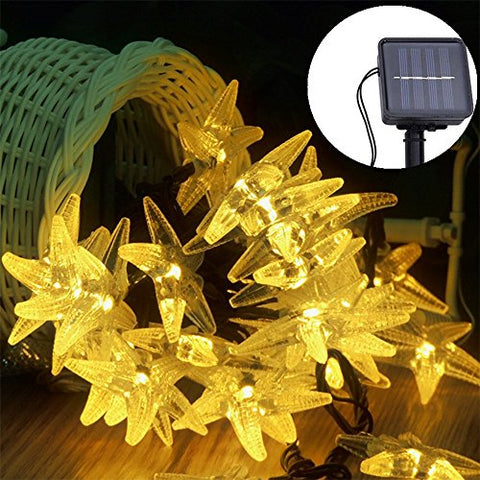 Solar String Lights, Vacio Waterproof 30 Leds Outdoor Starfish Light Indoor String Lamp, Decorative Lights For Christmas Xmas Festival Party Decorations-Warm White