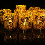 DeePrinter Timer Flameless Flickering LED Tea Light 12pcs Battery Operated Candles,Gold Decorative Votive Wraps Included Ideal for Party Home Candlelight Vigils Decor - llightsdaddy - DeePrinter - Flameless Candles