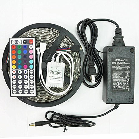 Led Light Strip Kit Smd5050 300Leds 5 Meters/1 Roll Waterproof Of Rgb Dc 12V With Ir 44Key Remote Controller And 5A Adapter For Garden,Kitchen,Party,Christmas