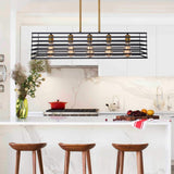 Lingkai Modern Kitchen Island Lighting Rectangle Chandeliers 5-Light Linear Cage Pendant Light Rectangle Farmhouse Hanging Ceiling Light