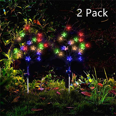 Forlive Solar Garden Lights Outdoor Beautiful Bright Led Solar Powered Landscape Flower Lights For Pathway, Yard, Patio, Deck, Walkway Decoration- Solar Flickering Tree Lights  ˆ2 Pack Multi-Color ‰