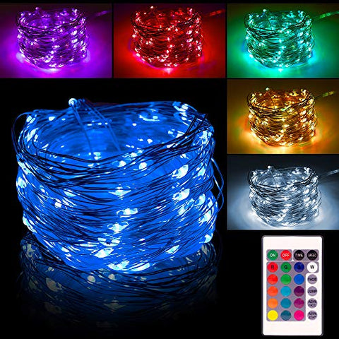 LED String Lights Battery Operated Fairy Lights Multi Color Change - 26FT 80 LEDs Waterproof Lights String Outdoor Dimmable/Timer with Remote for Garden Home Wedding Holiday Decoration