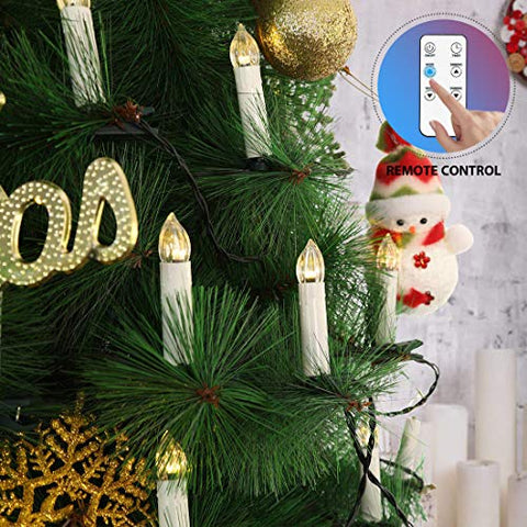 VIVOHOME 50Pcs Mini Flameless Clip-on Electric Christmas Tree LED Candle Indoor String Lights with Remote Control - llightsdaddy - VIVOHOME - Flameless Candles