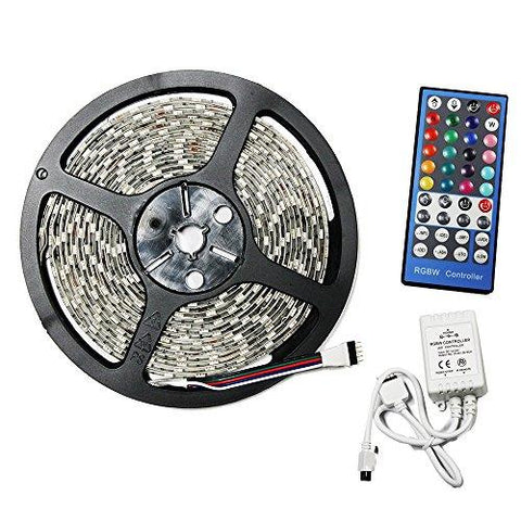 LED4Everything (TM) 5M 16.4ft 12v SMD RGBW RGB + Cool White 5050 IP65 Waterproof 300 LED Strip Light + 40Key RGBW Remote Controller + 12V 5A Power Supply - llightsdaddy - Westinghouse - High Intensity Discharge Bulbs