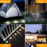 Solar Lights Outdoor, Solar Disk Lights 8 LED Bulbs Waterproof Solar Garden Lights Outdoor for Patio Pathway Ground Lawn Yard Driveway Walkway - llightsdaddy - Biling - Outdoor Porch & Patio Lights