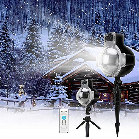 Snowfall Led Projector Lights, Elec3 Christmas Snow Light Snow Falling Projector Lamp, Ip65 Waterproof Snowflake Motion Light For Christmas Valentines Day,Halloween,Thanksgiving Wedding Decoration
