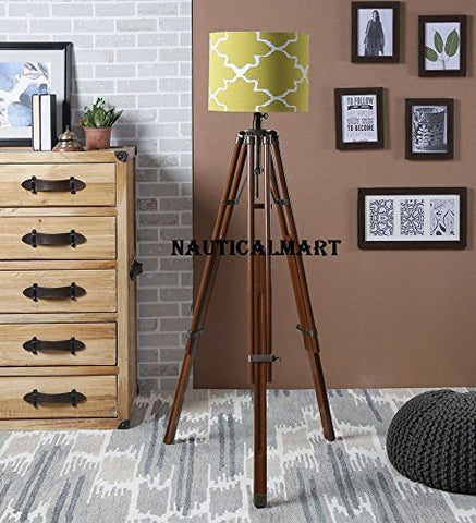 Vintage Handloom Natural Wooden Brass Finish Tripod Floor Lamp Stand By Nauticalmart - llightsdaddy - NAUTICALMART - Outdoor Floor Lamps