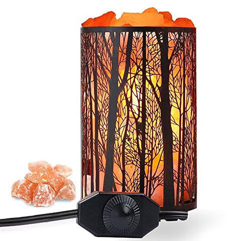 "Himalayan Salt Lamp, Air Purifying Salt Rock Lamp Natural Night Light In Forest Design Metal Basket With Dimmer Switch (4.1 X 6.5"" 4.4-5Lbs), 25Watt Bulbs &Amp; Etl Cord 1 Pack - llightsdaddy - Shineled - Lights"