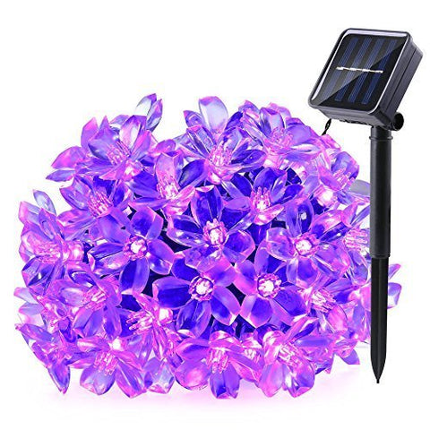 Solar Fairy String Lights 21ft 50 LED Purple Blossom Decorative Gardens, Lawn, Patio, Christmas Trees, Weddings, Parties (Purple)