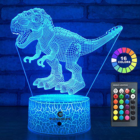 Easuntec Dinosaur Toys 3D Night Light With Remote & Smart Touch 7 Colors + 16 Colors Changing Dimmable Trex Toys 1 2 3 4 5 6 7 8 Year Old Boy Or Girl Gifts (Trex 16Wt)
