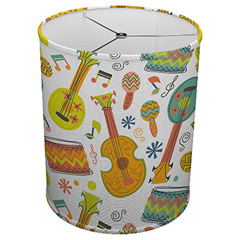 "Hardback Linen Drum Cylinder Lamp Shade 8"" x 8"" x11"" Spider Construction [ Guitar Ukulele Music ] - llightsdaddy - ArtLights - Fixture Replacement Globes & Shades"