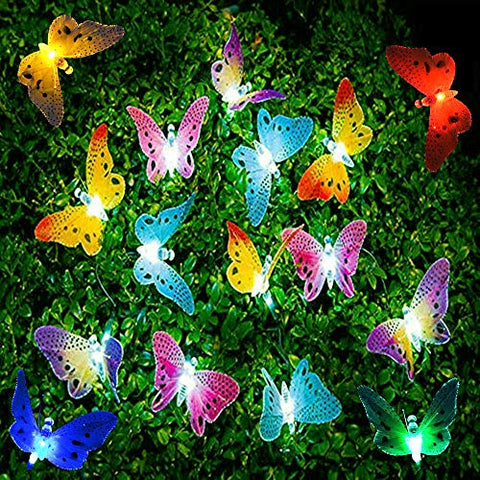 Madowl Led String Lights, 20Pcs Multi-Color Led Fiber Optic Butterfly Lights, 16Ft Length, Solar-Powered Fairy Lights, Waterproof Led Strand Lights For Garden, Christmas,Outdoor Lighting Decorations